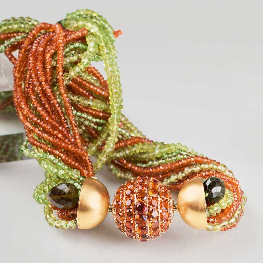 Modern, multi-row Peridot Mandarin garnet necklace with a large citrine and diamond ball clasp. - photo 1