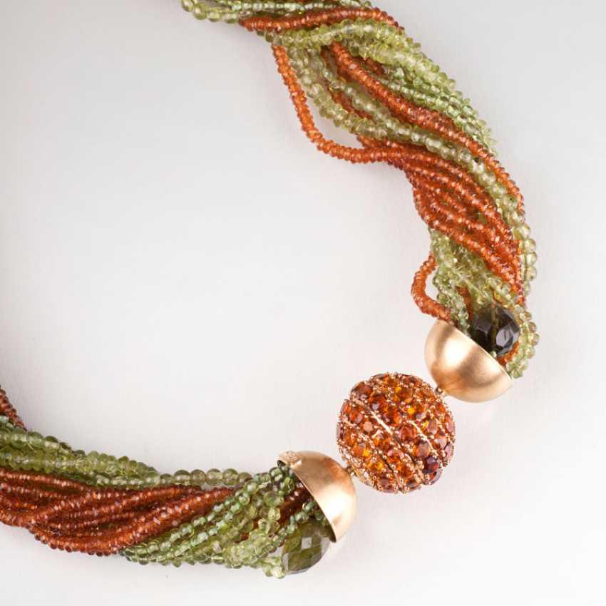 Modern, multi-row Peridot Mandarin garnet necklace with a large citrine and diamond ball clasp. - photo 2