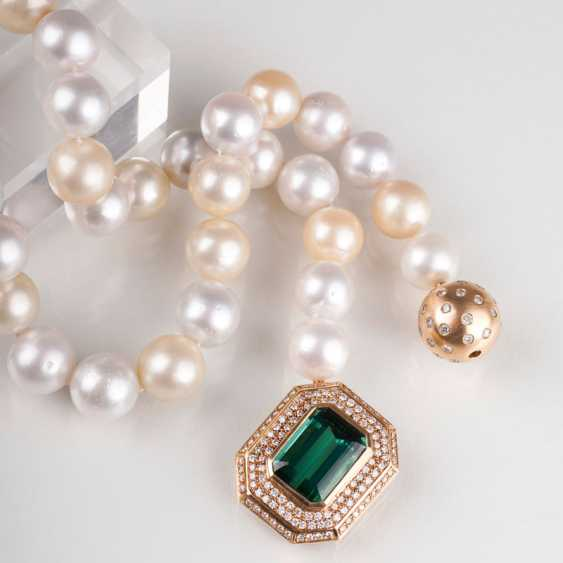 South sea pearl necklace with high-class tourmaline-brilliant-removable clasp and additional brilliant ball clasp. - photo 1