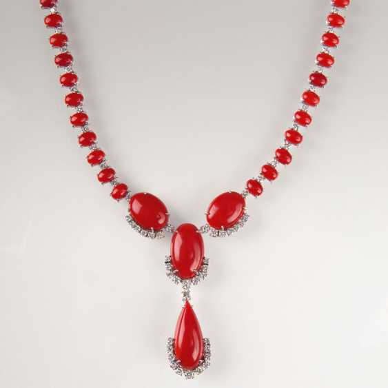Opulentes Korallen-Brillant-Collier. - photo 1