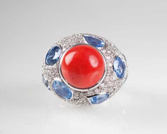 Large Coral-Sapphire-Brillant-Ring. - photo 1