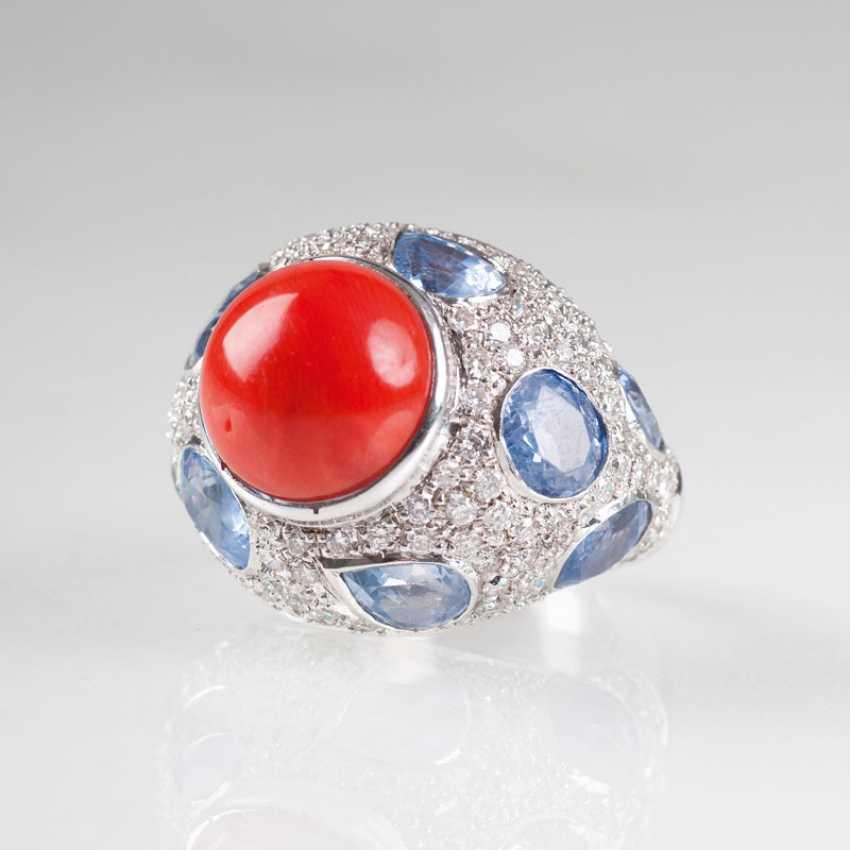 Large Coral-Sapphire-Brillant-Ring. - photo 2