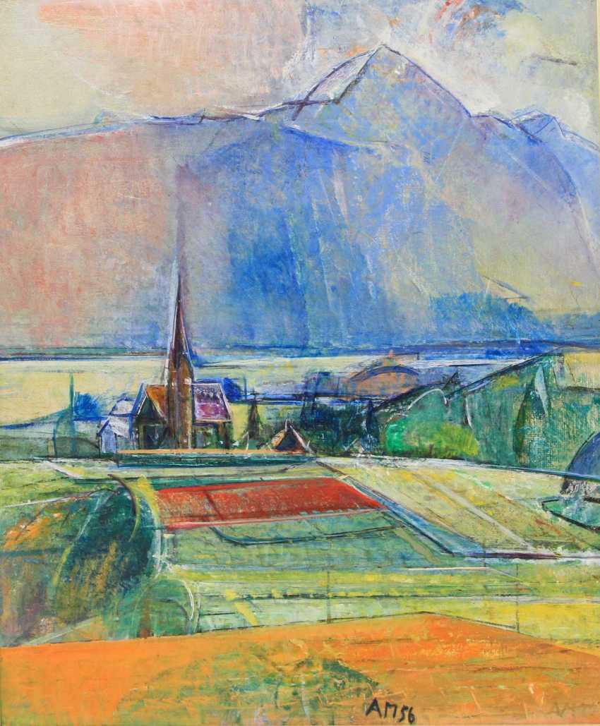 "MAHRINGER, ANTON (Neuhausen a. d. Fildern 1902-1974 Villach), ""the village Church in front of the mountain chain"" - photo 1"