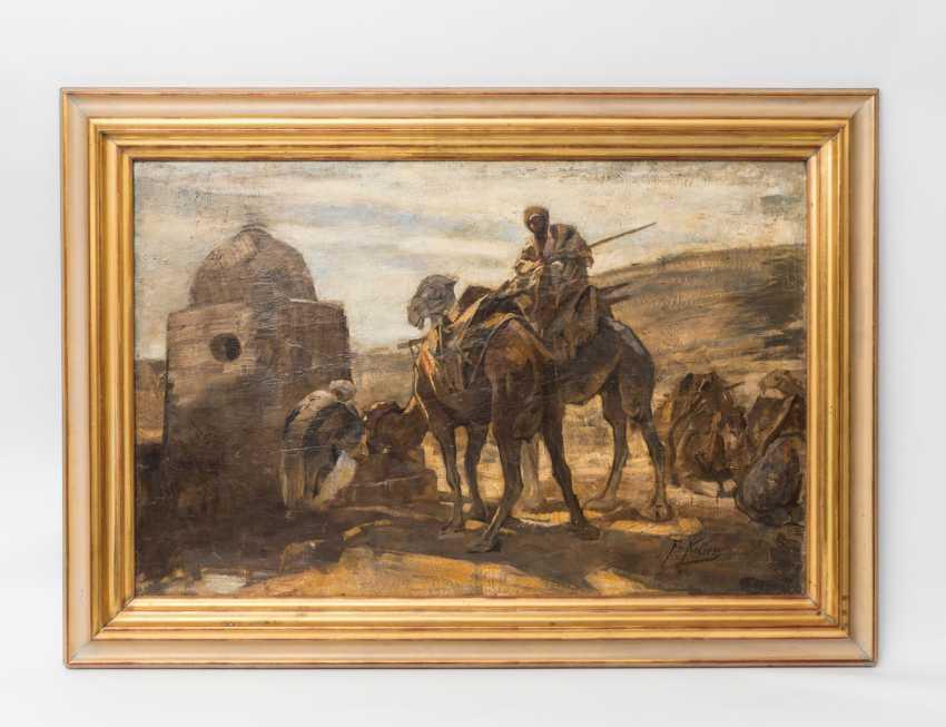 """KELLER, FRIEDRICH VON (Neckarweihingen 1840-1914 Abstgmünd, Prof.), """"camel rider on the water at Bethlehem,"""" - photo 2"""