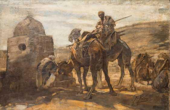 """KELLER, FRIEDRICH VON (Neckarweihingen 1840-1914 Abstgmünd, Prof.), """"camel rider on the water at Bethlehem,"""" - photo 1"""