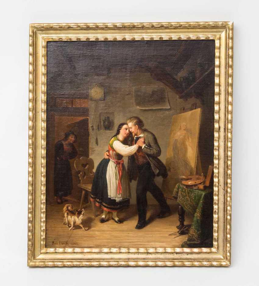"STERN, ROBERT (Stuttgart 1831-1889 ibid, Genre, landscape & portrait painter), ""painter and model in Betzinger costume at the dance"", - photo 2"