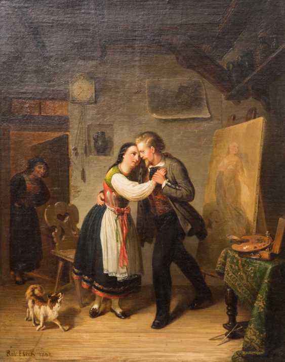 "STERN, ROBERT (Stuttgart 1831-1889 ibid, Genre, landscape & portrait painter), ""painter and model in Betzinger costume at the dance"", - photo 1"
