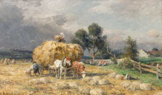 """Chair Muller, CHARLES (1859-1930, a painter from Munich), """"haymaking"""" - photo 1"""