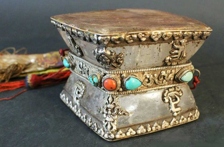 Tibetian drum, massive rock crystal with leather and silver decortaed with stones - photo 2