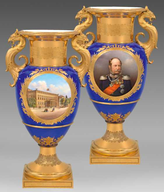Royal luxury vase with the Portrait of Wilhelm I of Prussia and the view of the Berlin city Palace - photo 1