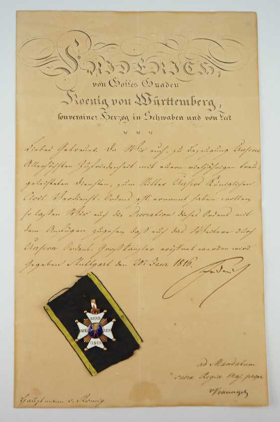 Württemberg: civil order of merit, knight's cross with certificate for captain Johann Christian v. Romig - breeding house keepers to the criminal gotteszell prison in Schwäbisch Gmünd. - photo 1