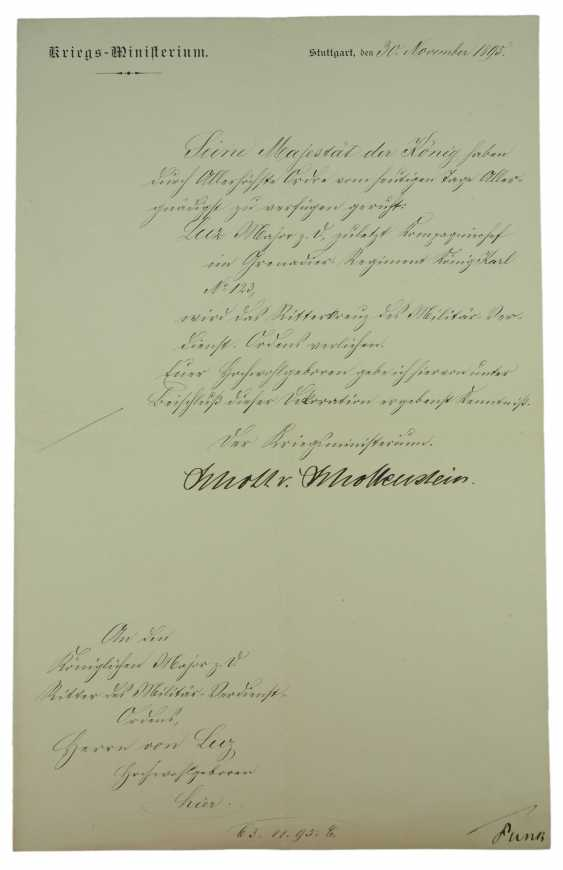 Württemberg: Royal Württemberg court inspector, Major discount, for example, D. Karl Friedrich von Luz - documents - and Documents. - photo 1