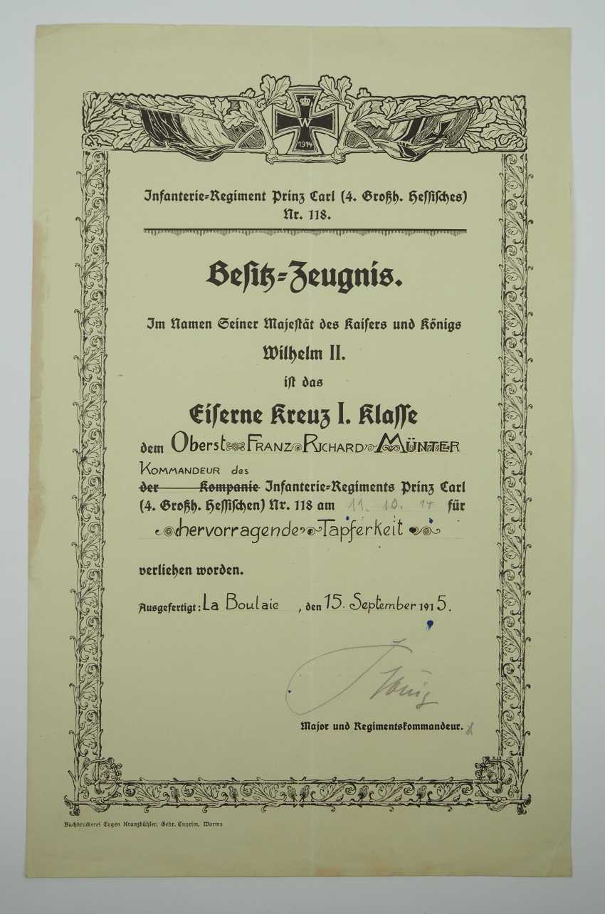 """Hesse: deed estate of the commander of the infantry regiment """"Prince Carl"""" (4. Wholesaler. Hessisches) No. 118. - photo 5"""