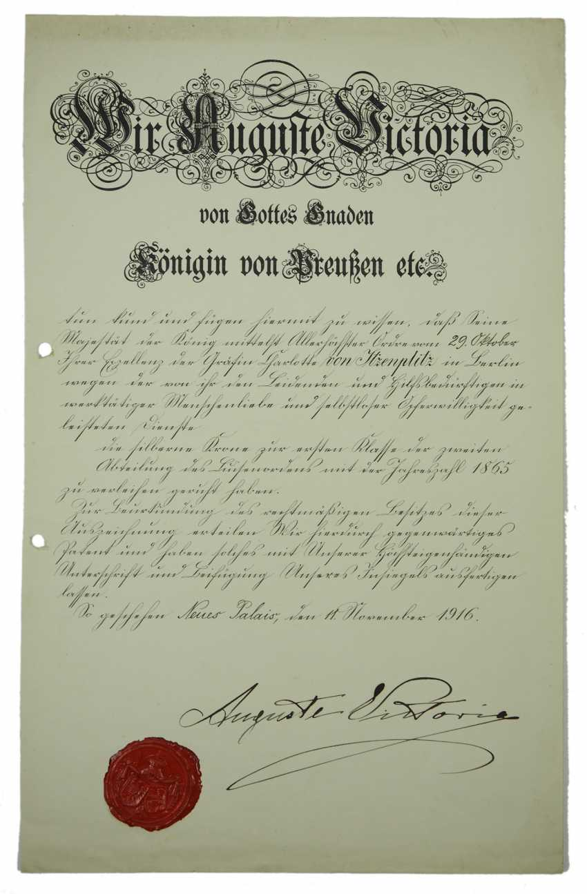 Prussia: Luisen-Orden, 1. Class 2. Department, year 1865 - award certificate for the Silver crown to the Countess Charlotte von Itzenplitz. - photo 1