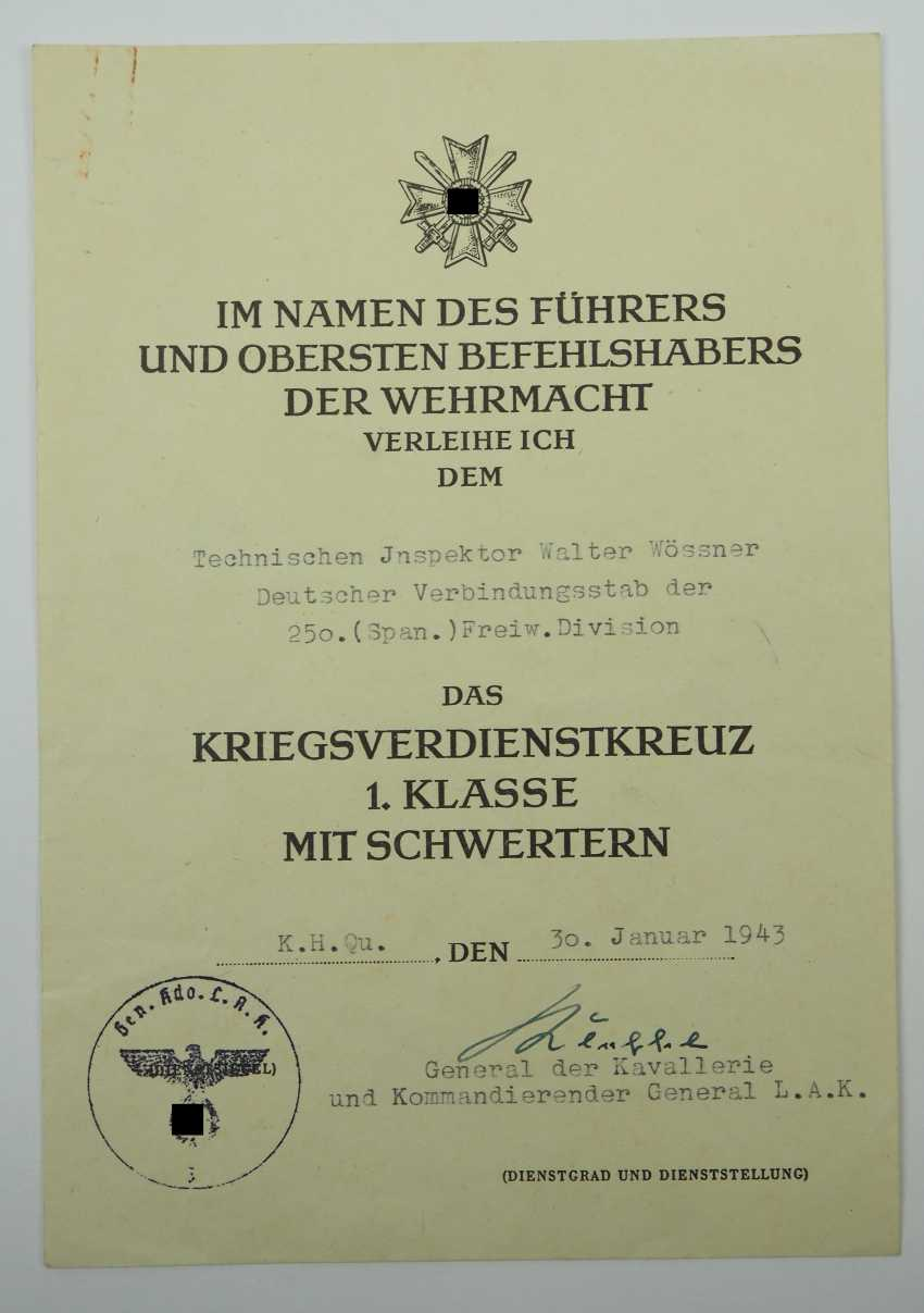 Certificate of probate of the Technical inspector (weapons of auditor) in the German liaison staff of 250. (Spanish) Volunteer Division - Blue Division. - photo 2