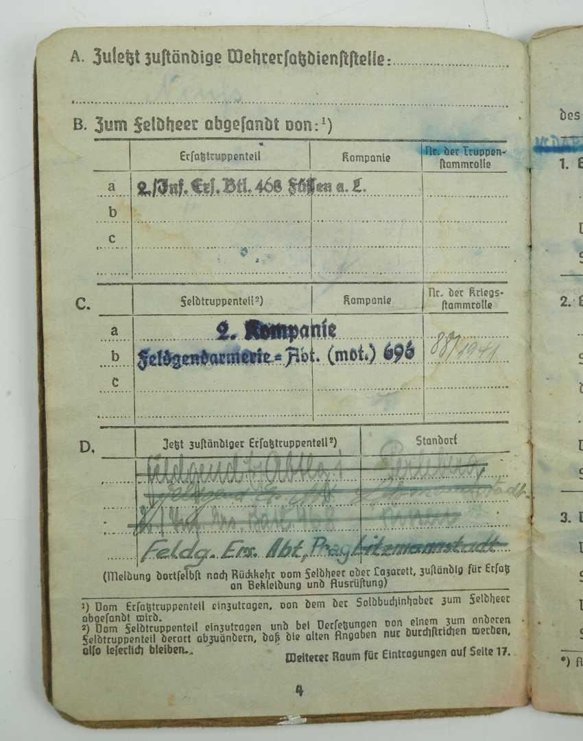 ID estate of a Sergeant of the gendarmerie Dept. (mot.) 696 / Feldg. Ers. Dept. Prague - The Band Badge. - photo 3