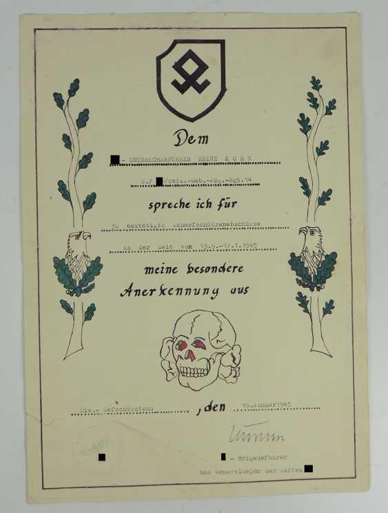 "Certificate of probate of a char leader of the 2./ SS-freiwilligen-gebirgs-Jäger-Regiment 14 ""Skanderbeg"". - photo 2"