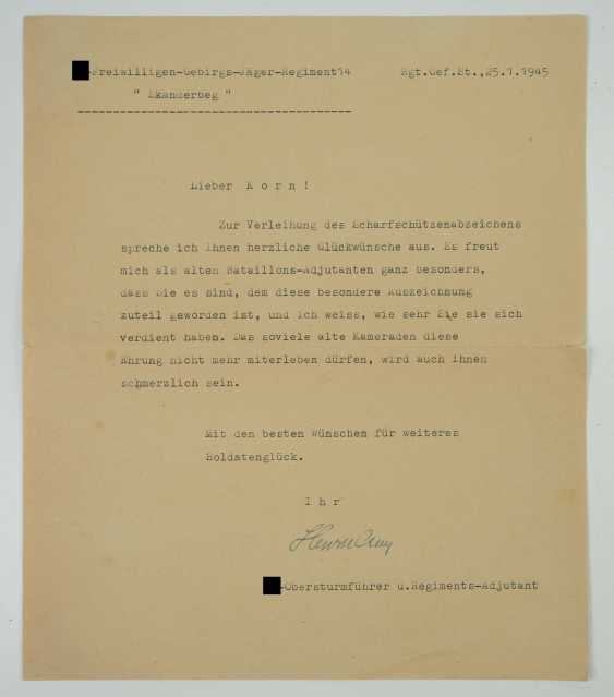 "Certificate of probate of a char leader of the 2./ SS-freiwilligen-gebirgs-Jäger-Regiment 14 ""Skanderbeg"". - photo 3"