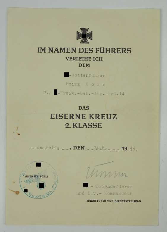"Certificate of probate of a char leader of the 2./ SS-freiwilligen-gebirgs-Jäger-Regiment 14 ""Skanderbeg"". - photo 4"