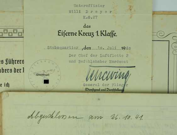 "Certificate of probate of the fighter staff Sergeant Willi Dreyer of the battle squadron ""Boelcke"" Nr. 27. - photo 3"