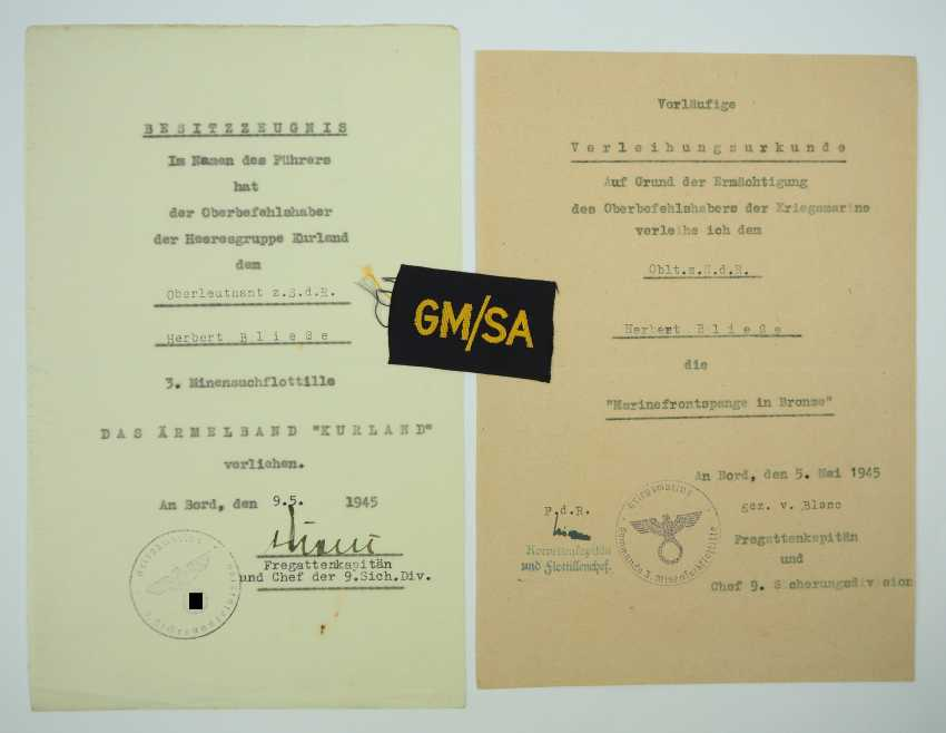 Certificate group of senior Lieutenant z. S. d. R. 3. Mine search flotilla. - photo 2
