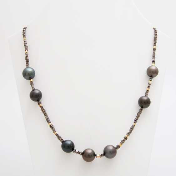 Diamond necklace with cultured pearls, one of a kind, - photo 1