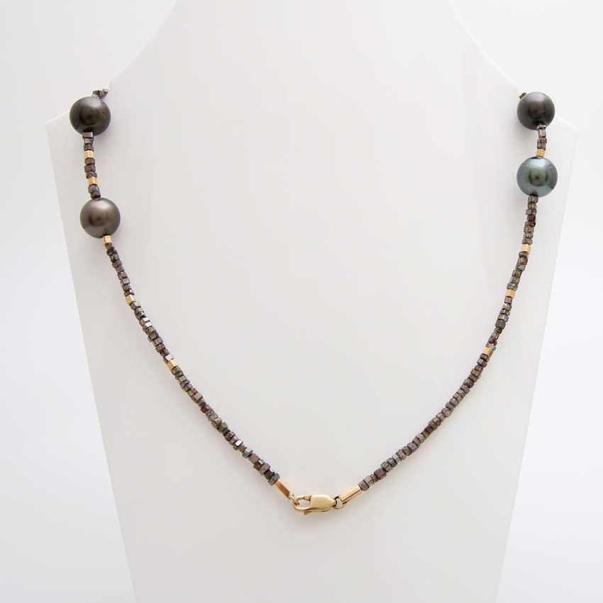 Diamond necklace with cultured pearls, one of a kind, - photo 2