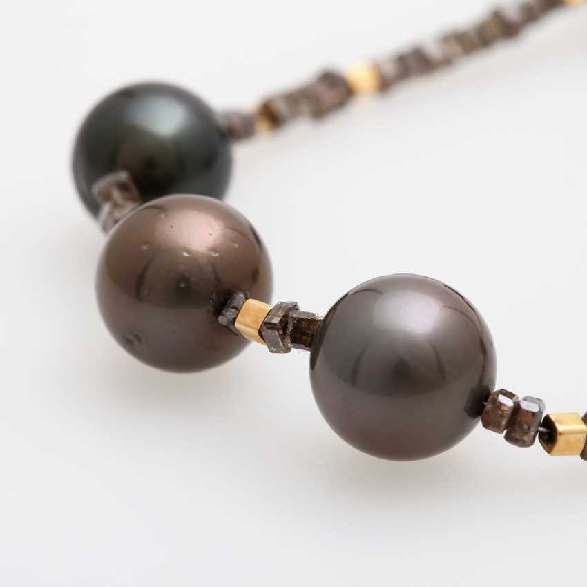 Diamond necklace with cultured pearls, one of a kind, - photo 3
