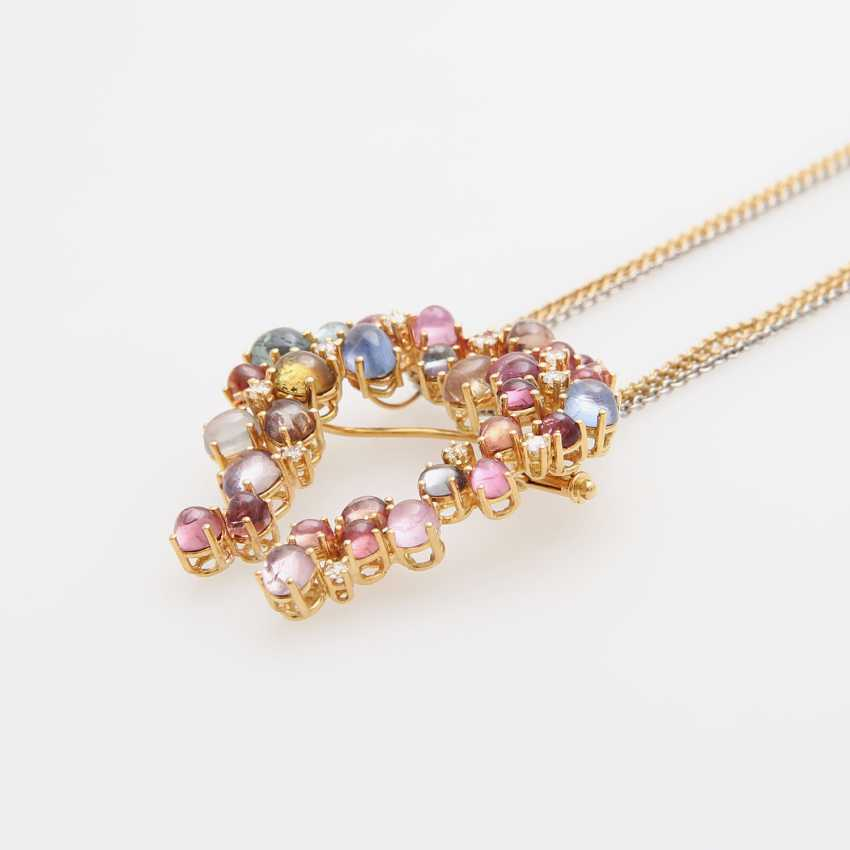 Brooch pendant on chain with precious stones, - photo 3