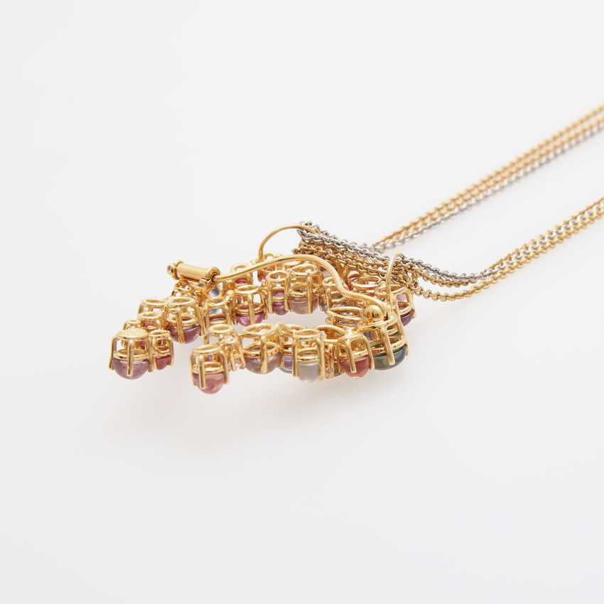 Brooch pendant on chain with precious stones, - photo 4