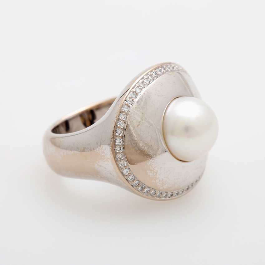 Ladies ring occupied m. a white cultured pearl - photo 2