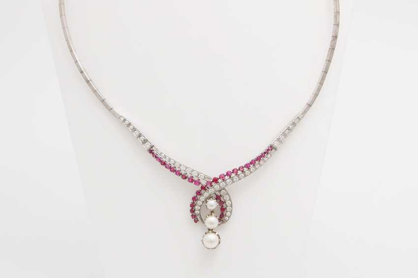 Collier, m. rubies, cultured pearls & diamond - photo 1