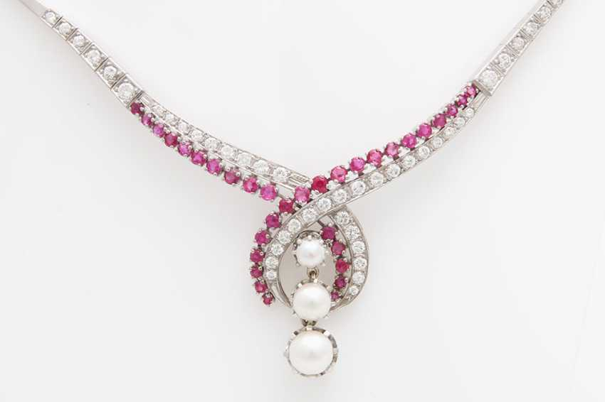 Collier, m. rubies, cultured pearls & diamond - photo 2