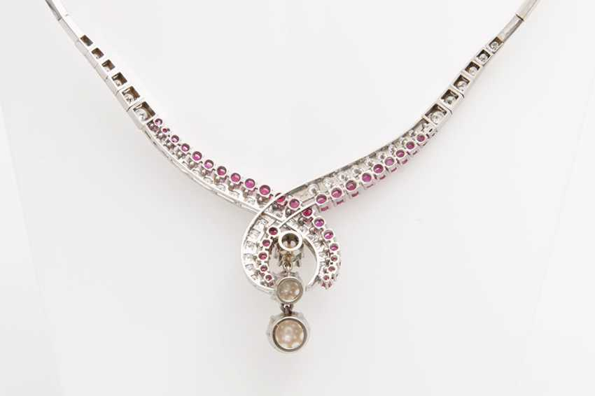 Collier, m. rubies, cultured pearls & diamond - photo 3