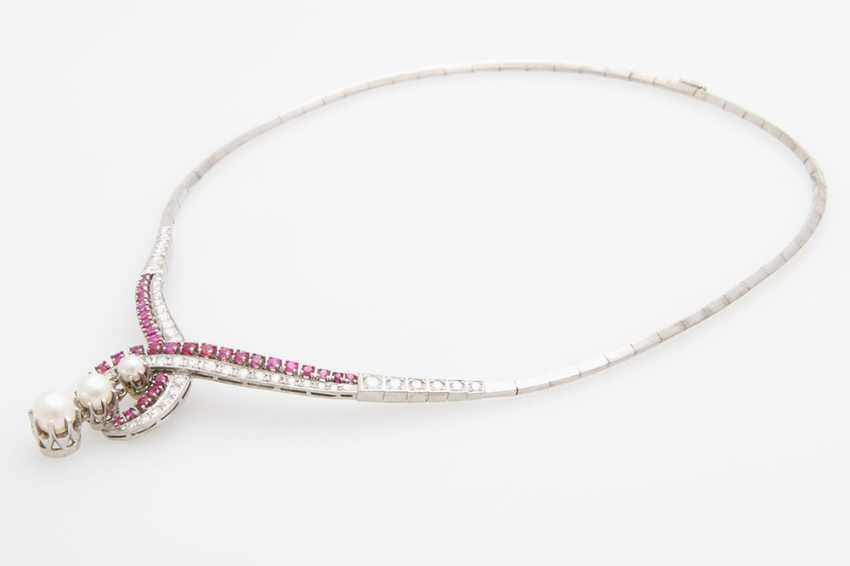 Collier, m. rubies, cultured pearls & diamond - photo 4