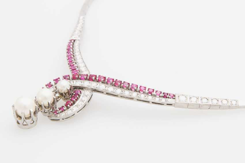 Collier, m. rubies, cultured pearls & diamond - photo 5