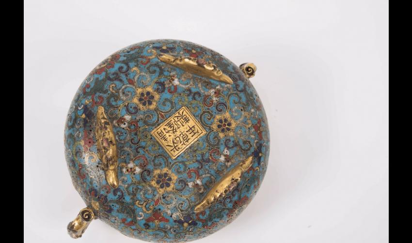 Censer tripod gilt bronze and cloisonné enamels, China Deco - photo 2