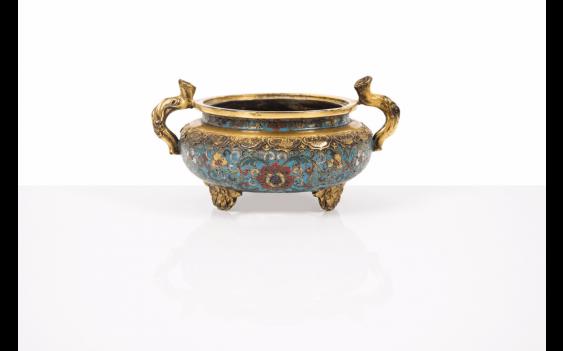 Censer tripod gilt bronze and cloisonné enamels, China Deco - photo 1