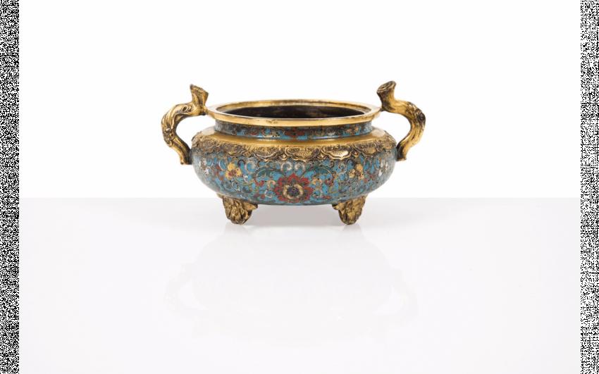 Censer tripod gilt bronze and cloisonné enamels, China Deco
