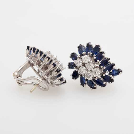Pair of earrings with sapphires and diamonds - photo 3