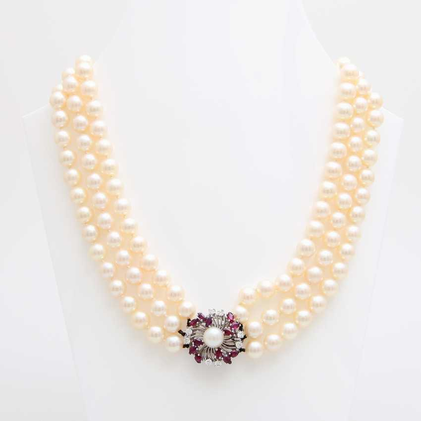 3-row pearl necklace with jewelry clasp, - photo 1