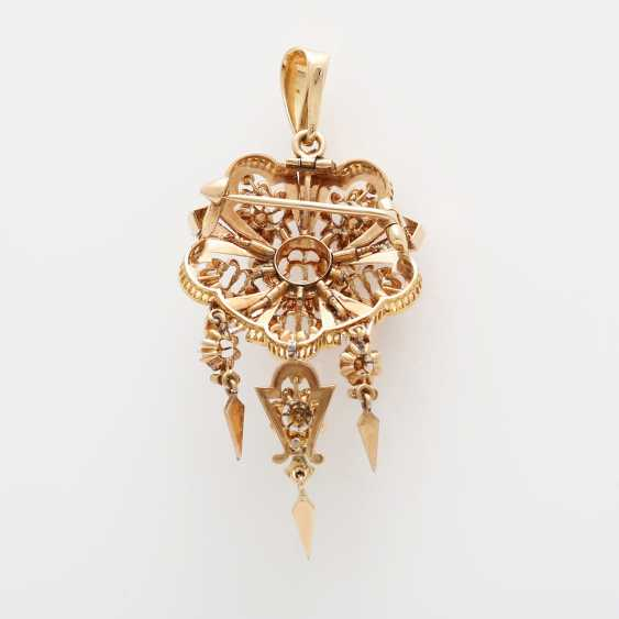 Brooch/pendant, around 1900 bes. with 1 old European cut diamond, approximately 0.35 ct; - photo 3