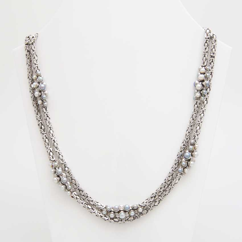 King chain occupied m. cultured pearls in grey and White - photo 1
