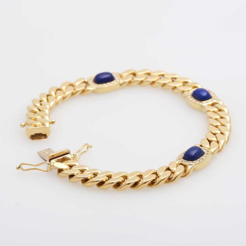 Flat curb bracelet m. lapis lazuli & diamonds - photo 1