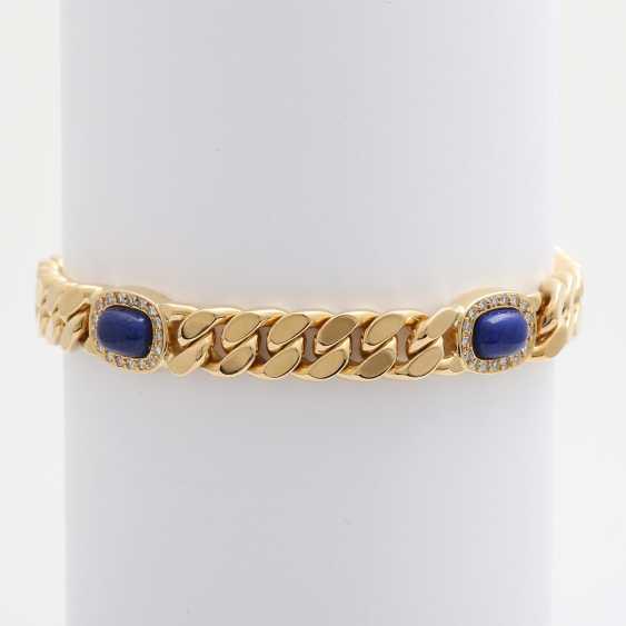 Flat curb bracelet m. lapis lazuli & diamonds - photo 2