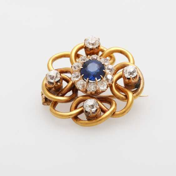 Wreath brooch in the middle m. sapphire 1.4 ct - photo 4