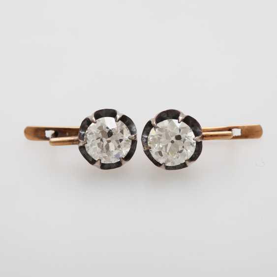 Earrings / stud earrings m. 2 old European cut diamonds - photo 1