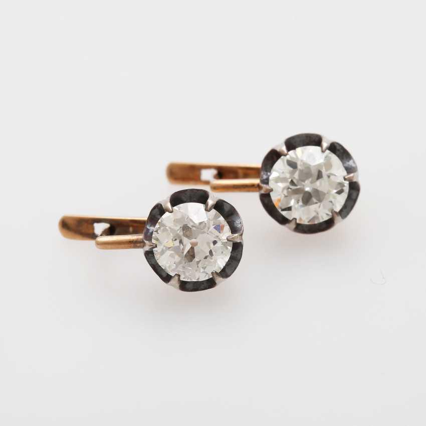 Earrings / stud earrings m. 2 old European cut diamonds - photo 2