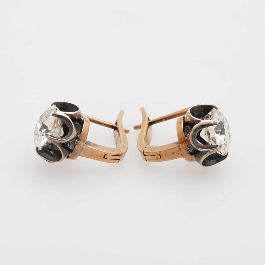 Earrings / stud earrings m. 2 old European cut diamonds - photo 3