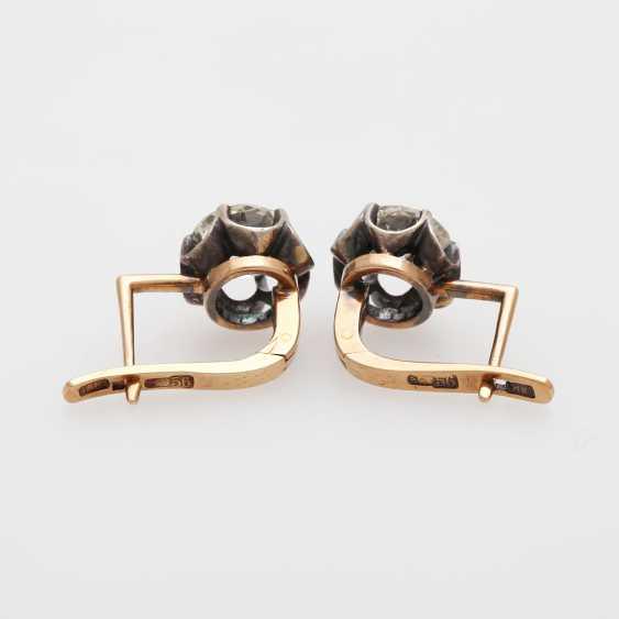 Earrings / stud earrings m. 2 old European cut diamonds - photo 4